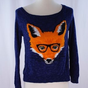 Sweaters - Knit sweatshirt top pullover with fox size M